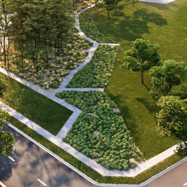 Winterfield estate landscape render
